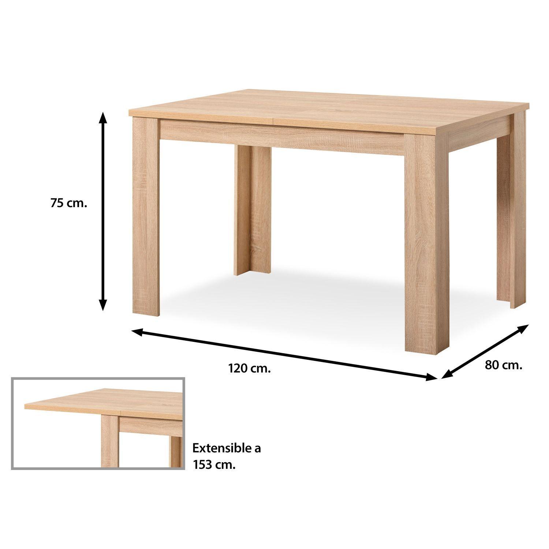 Mesa comedor buen precio 120 cm. roble extensible 153 cm. | Muebles ...