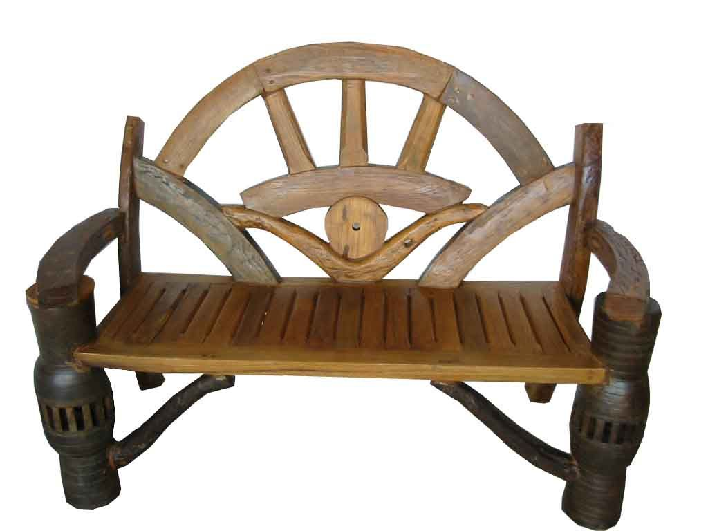 bench made from an old cart