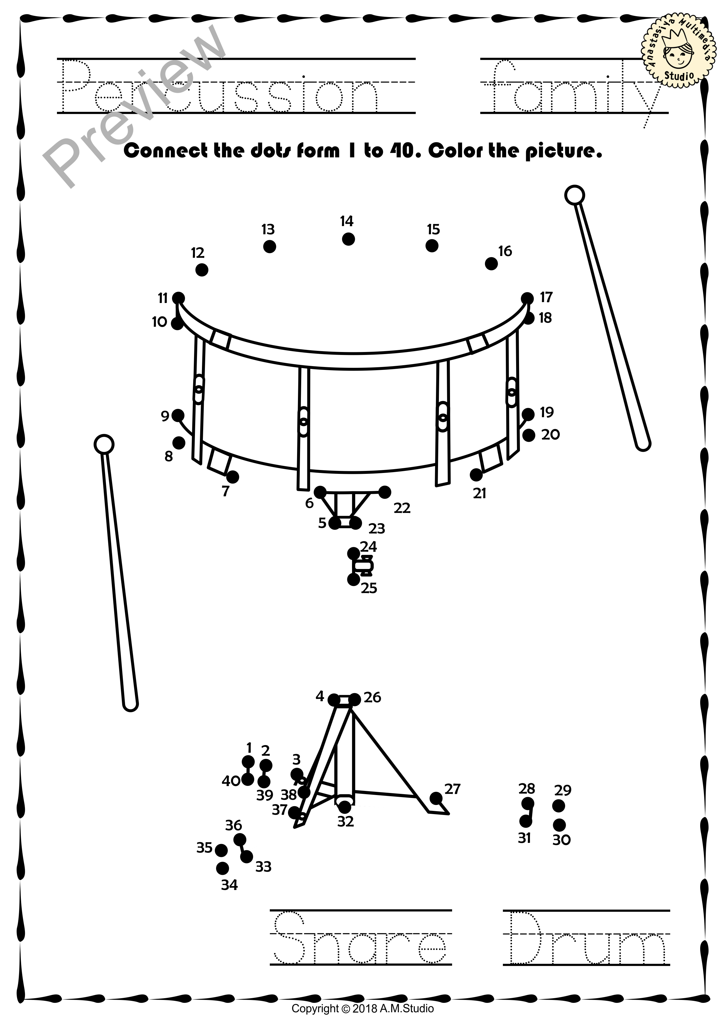 Worksheets Instrument Worksheets percussion instruments dot to worksheets wo