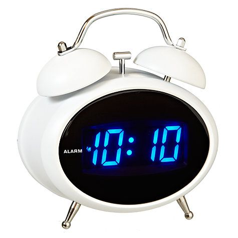 buy acctim dexter twin bell digital alarm clock white online at alarm clock. Black Bedroom Furniture Sets. Home Design Ideas