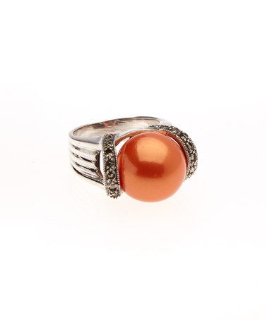Another great find on #zulily! Sterling Silver & Orange Pearl Ring #zulilyfinds