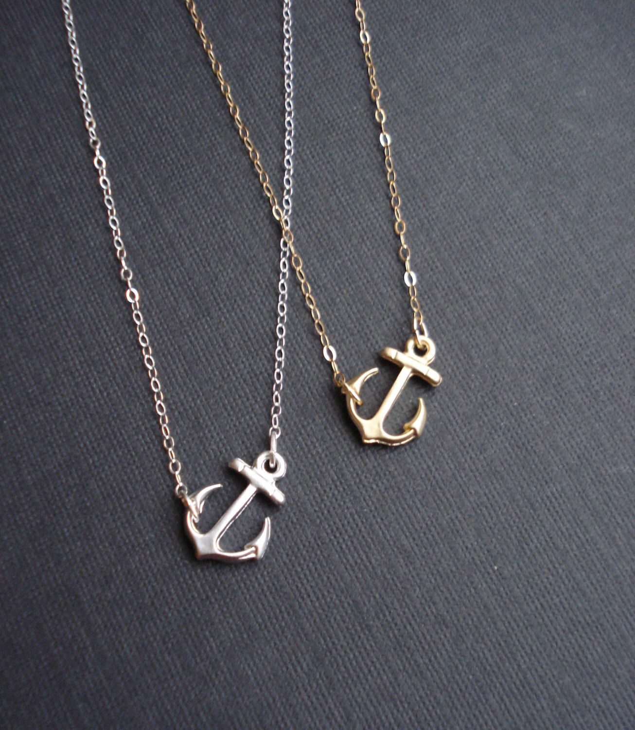Sideways anchor necklace silver or gold anchor necklace in sterling sideways anchor necklace silver or gold anchor necklace in sterling silver anchor pendant necklace modern aloadofball Images