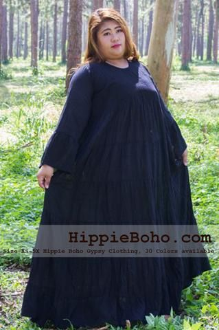 98bf0533846 No.103 - Plus Size Curvy Hippie Gypsy Dress XS-7X Black Plus Size Women s  Clothing Bohemian Peasant Bell Long Sleeve Tiered Maxi Dress Boho Gypsy  Hippie ...