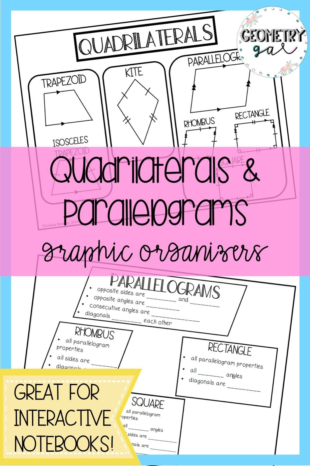 Quadrilaterals And Parallelograms Graphic Organizers