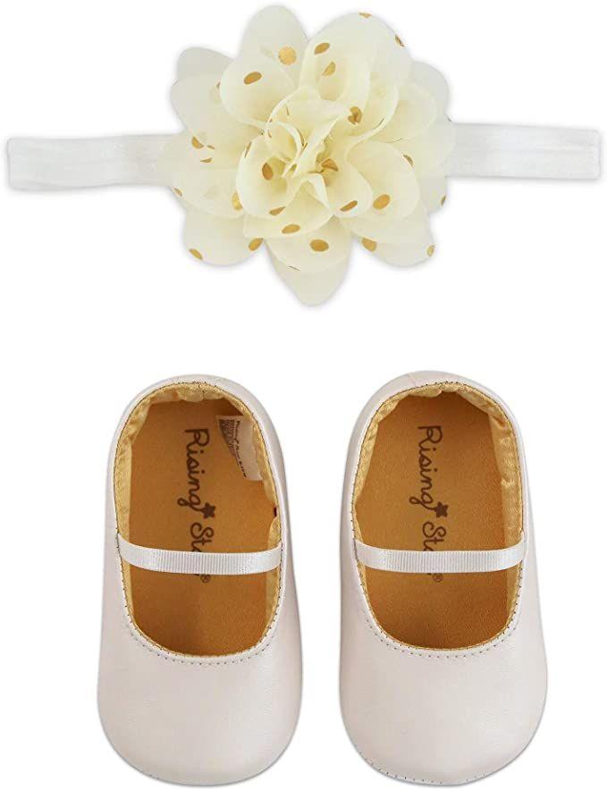 Baby Girls Bowknot Shoes Bling Mary Jane Toddler Shoes Elastic Bow Headband Set