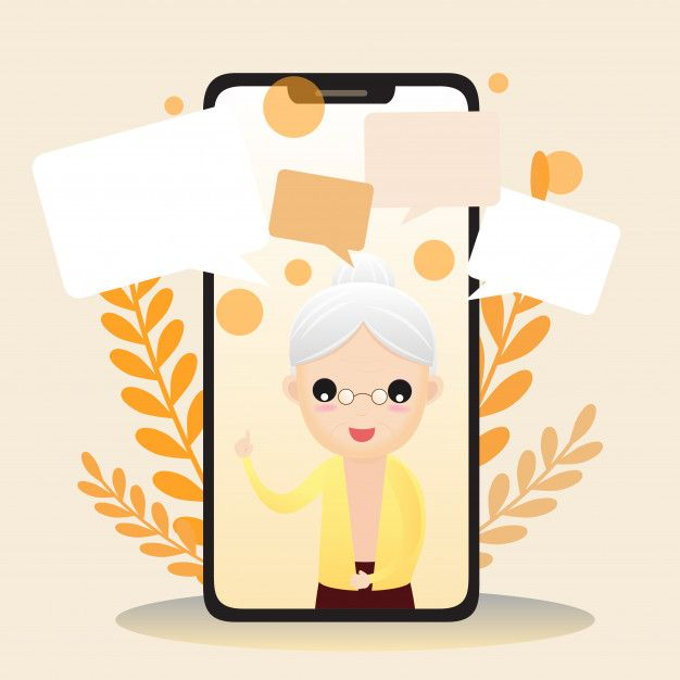 Illustration Of Elderly Character With Smart Phone. Old