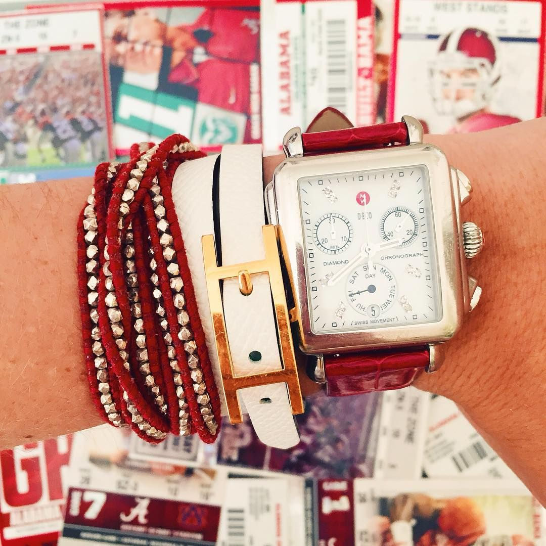 Back to school means back to football season at the University of Alabama, and Caroline is looking forward to being back in Bryant Denny Stadium cheering on her home team! Continue to follow @lcbstyle as she heads back to school and continues her passion in blogging and pursuing her dream in design. #MyMICHELEstory #MICHELEwatches #LCBStyle #rolltide