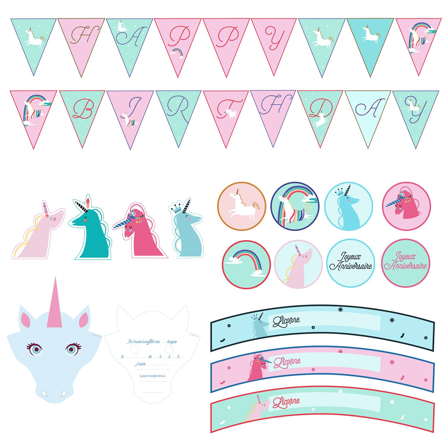 Souvent Kit déco anniversaire licorne | Unicorn birthday, Unicorns and  RL78