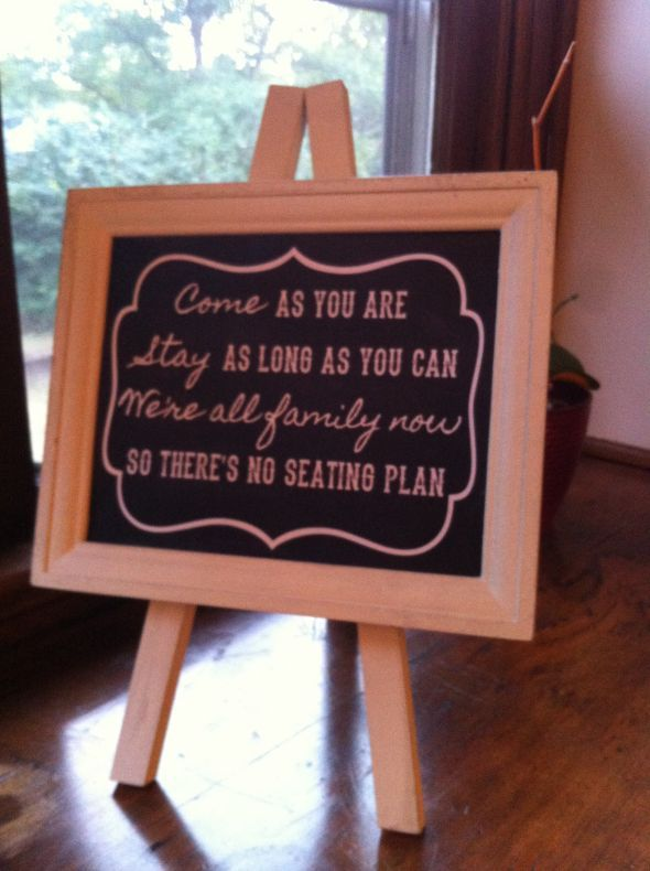 My No Seating Plan Sign Weddingbee Do It Yourself