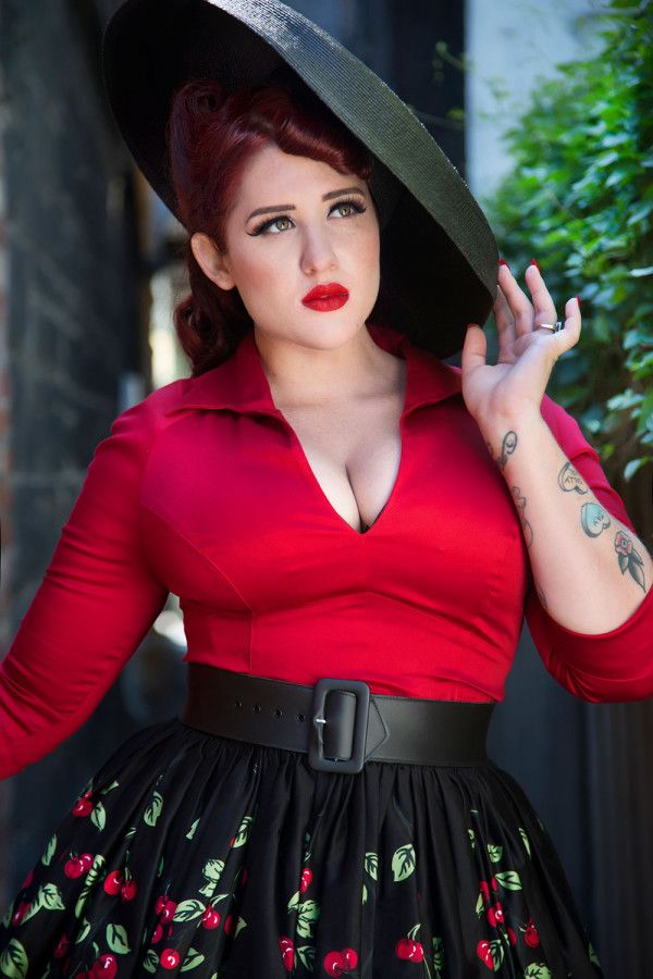 pinup couture plus size lauren top in red | lush: fat-u-lous