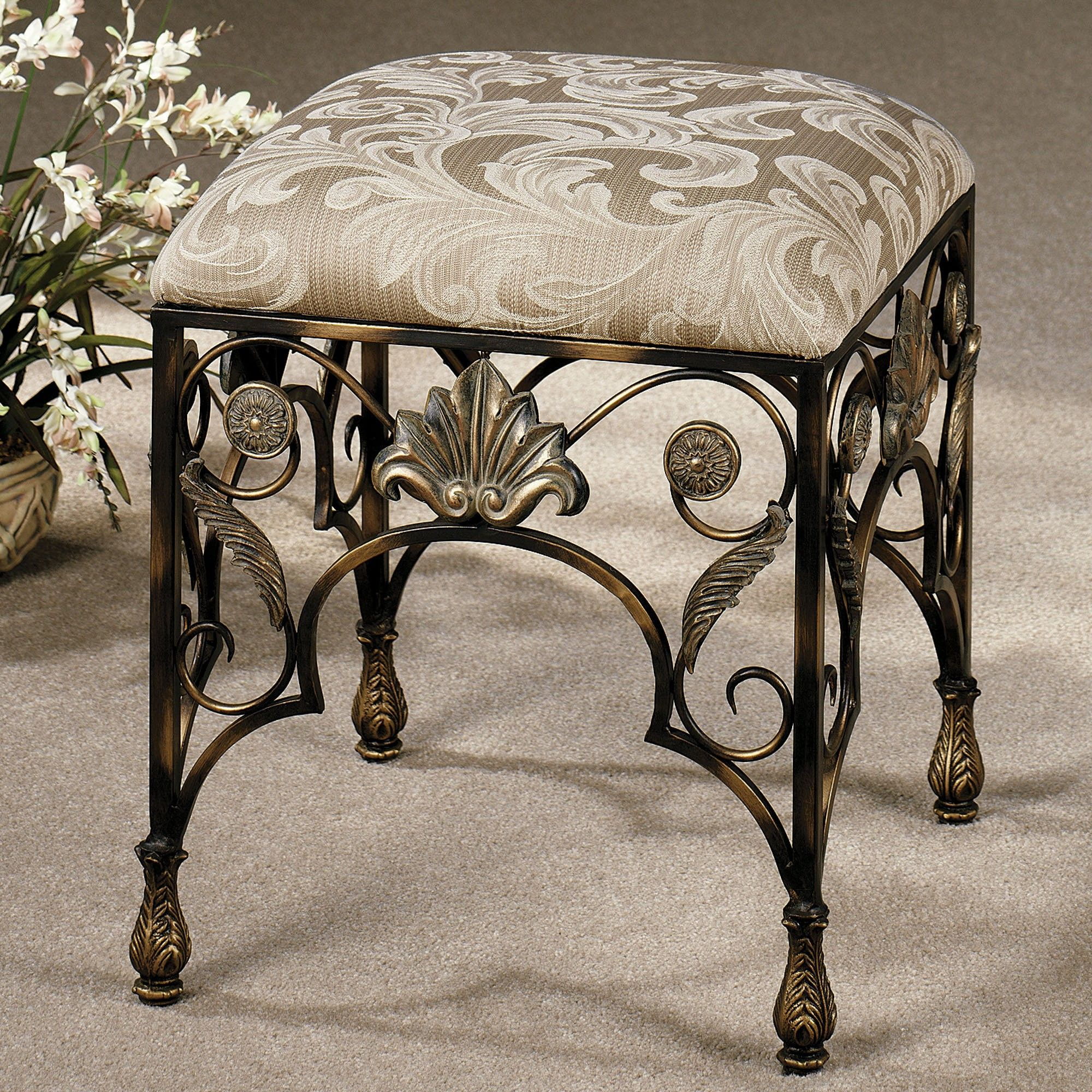 Bathroom Furniture Elegant Backless Vanity Chair With Ornate Gilded Wrought Iron Frame And Square Fabric Uphols Vanity Stool Bathroom Vanity Chair Vanity Chair