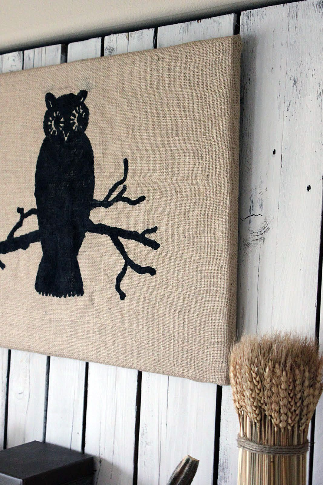 The Graphics Fairy   DIY: Burlap Owl Wall Art   Halloween