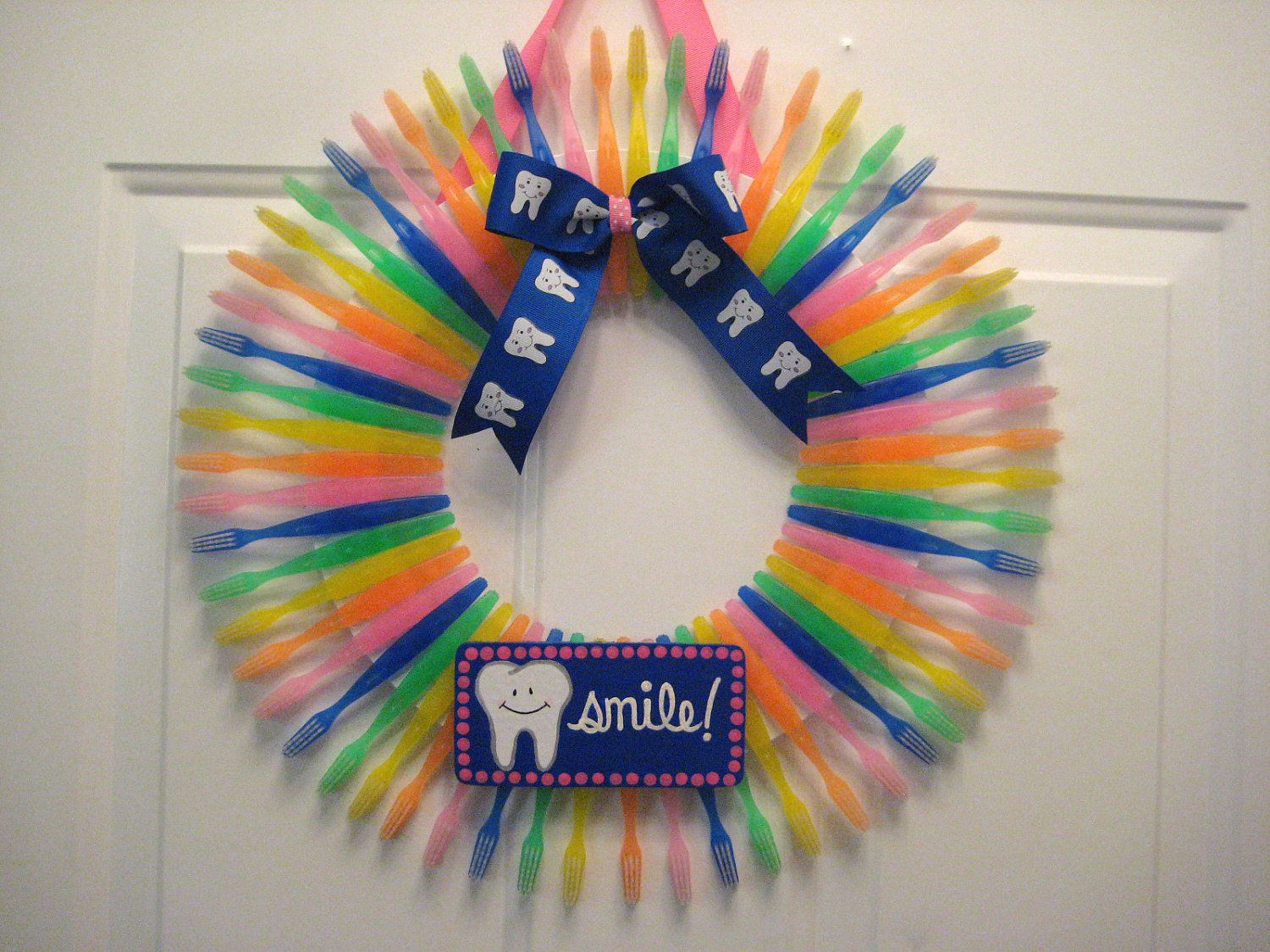 Wreath made out of toothbrushes i don t when d put
