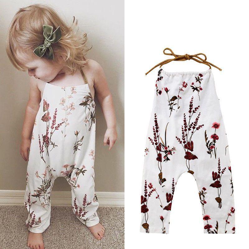 Photo of USA Toddler Kids Baby Girls Sommer Blomsterrem Romper Bodysuit Overordnede outfits | ebay