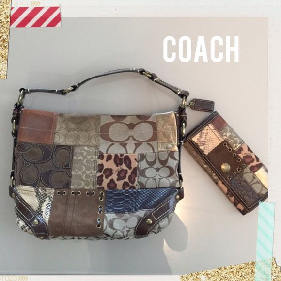 """Coach handbag and matching wallet Gorgeous patchwork coach shoulder handbag with matching wallet. In excellent condition besides some minor discoloration on one of the patches (pic. #2) and gentle overall wear on handbag and wallet. Handbag and wallet only used a handful of times.  Approximate measurements of handbag: length 12 1/2"""" (at widest part), height: 9 1/2"""" and depth: 3 1/2"""".  Wallet: length: 7 3/4"""" and height; 4"""".  -no trades -only reasonable offers, please. Ty.  See other listing…"""