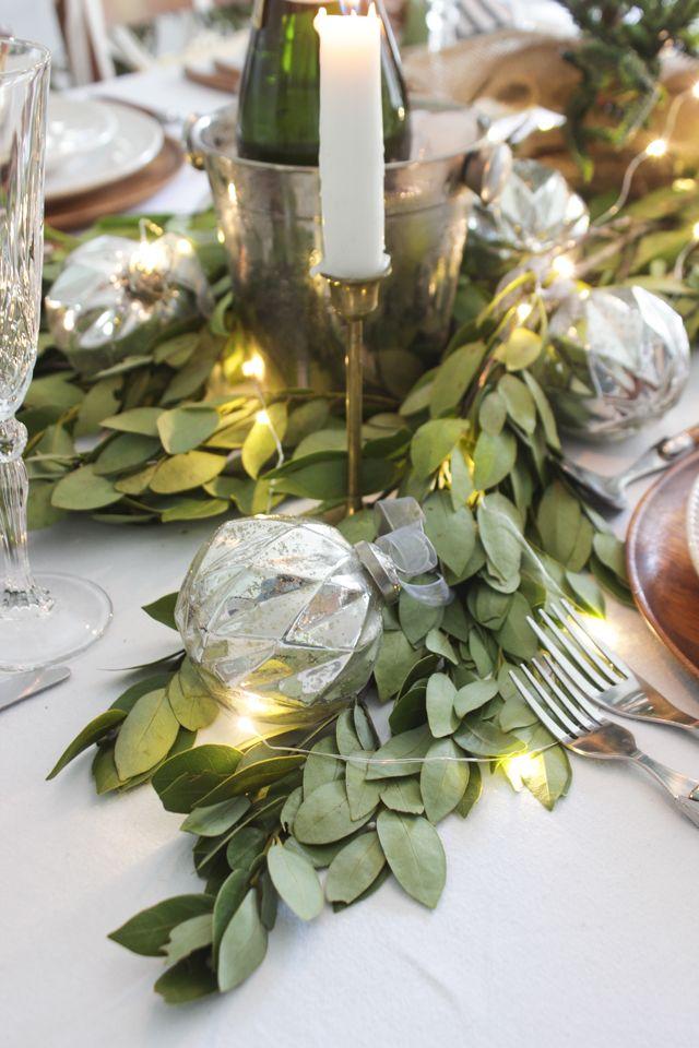 A Fresh Green Christmas Table Fresh Greens Christmas Christmas Table Decorations Green Christmas