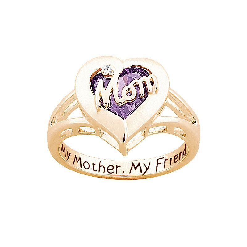 Quot Mom Quot Simulated Birthstone Quot Heart Quot Ring With Diamond