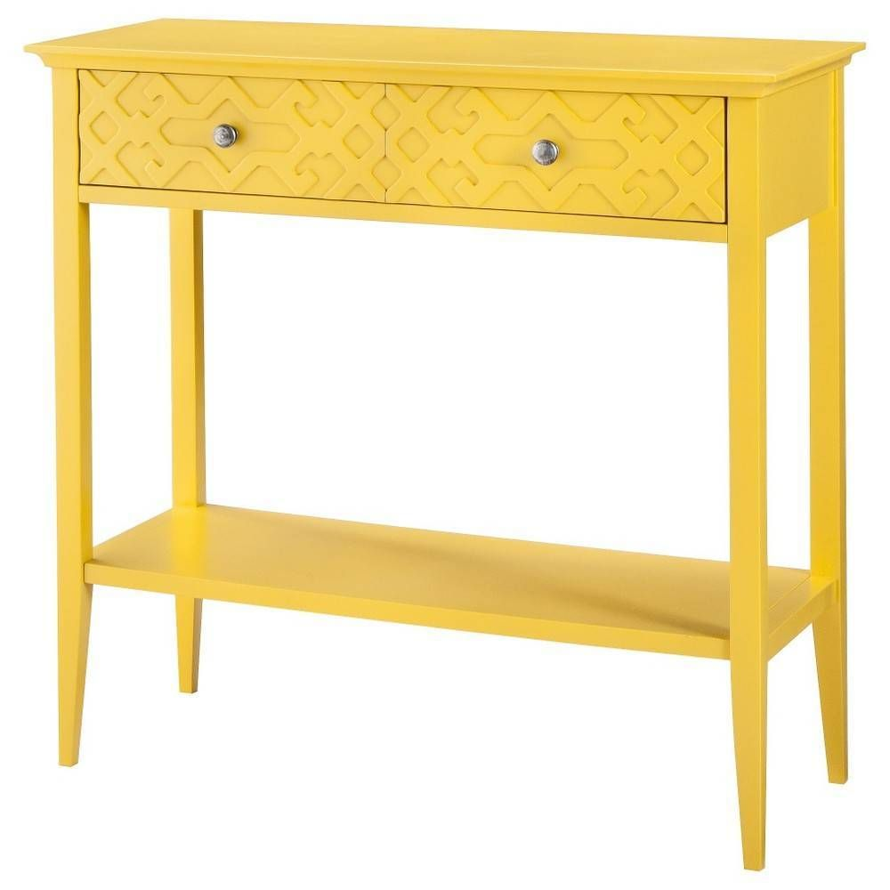 Console Table Fretwork Console Table Yellow Threshold Summer Wheat Target 130 Domino Com Console Table Yellow Furniture Furniture
