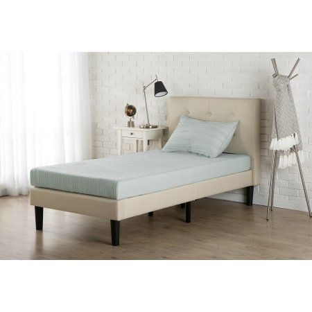 Zinus Twin Upholstered Button Tufted Platform Bed with Headboard and Wooden  Slats  Red. Zinus Twin Upholstered Button Tufted Platform Bed with Headboard
