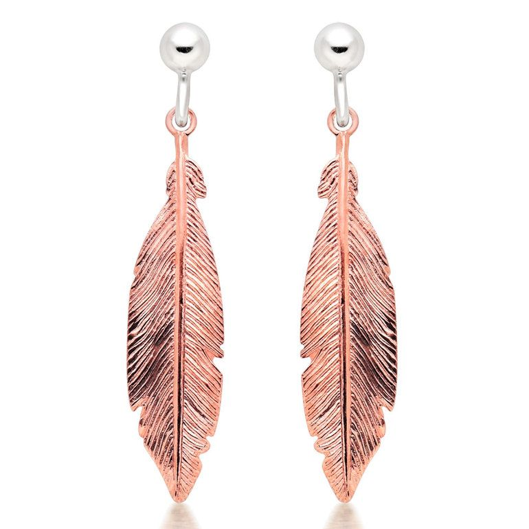 8d916c32a Silver Rose Gold Plated Feather Drop Earrings Beaverbrooks, Drops Design,  Rose Gold Plates,