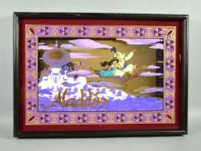 ALADDIN SHADOW BOX PICTURE MIRROR - Measures: Visable Art: 16.5''H x 23.5''W - Condition: Age appropriate wear; All items sold as is.