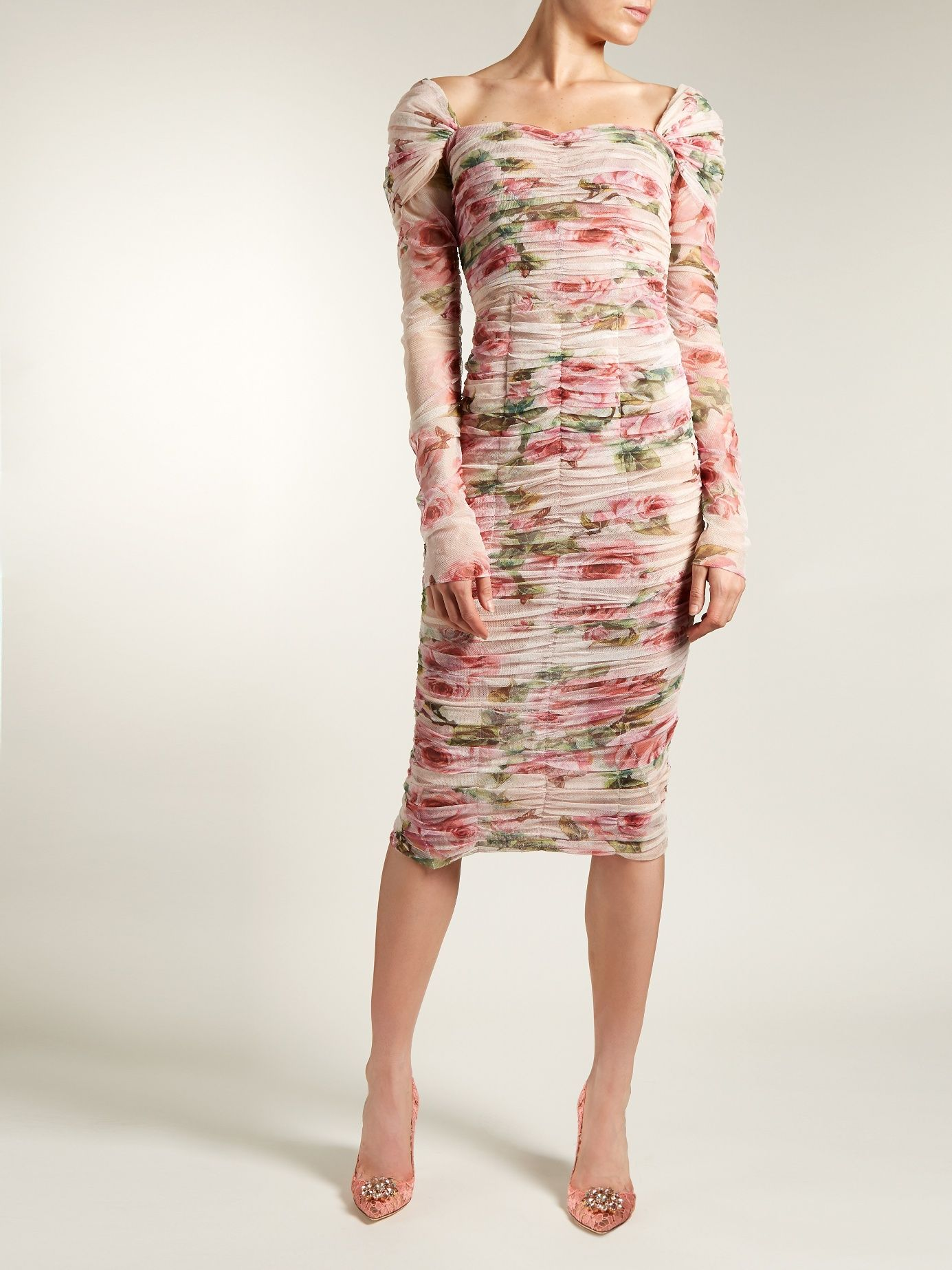 a20e06d325e7 Click here to buy Dolce   Gabbana Rose-print ruched-tulle dress at  MATCHESFASHION.COM