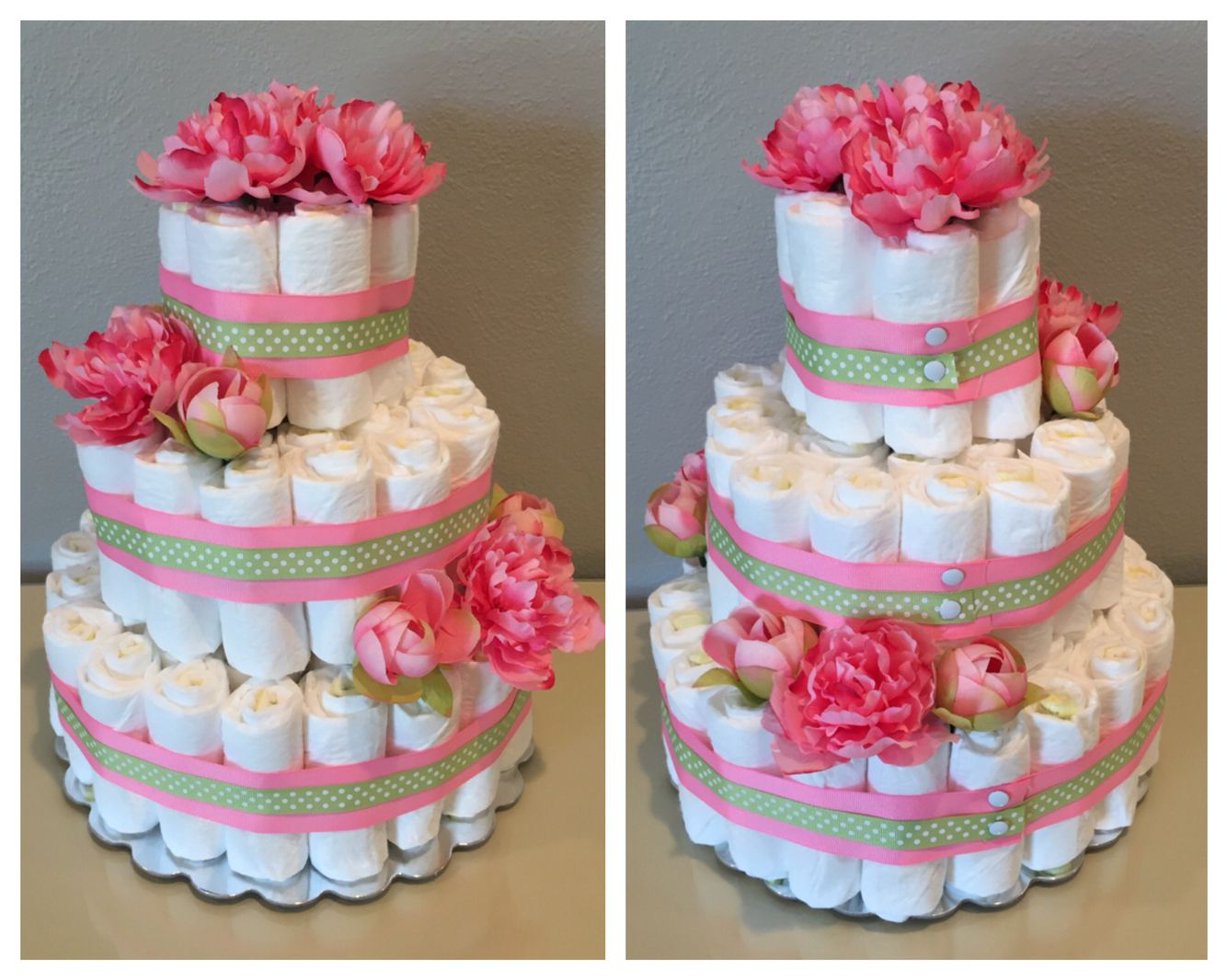 Pink and Green flower diaper cake for baby girl baby