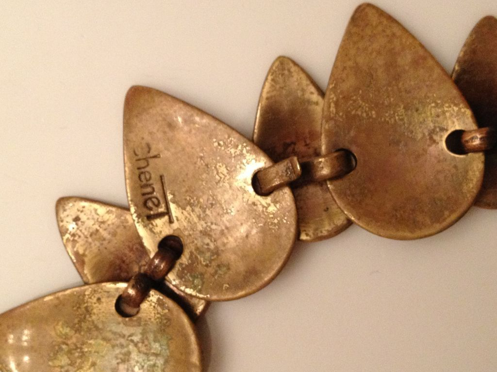 "Original Winifred Mason Chenet hand wrought brass ""leaves"" choker, back view, from elanastreasurebox on Ruby Lane"