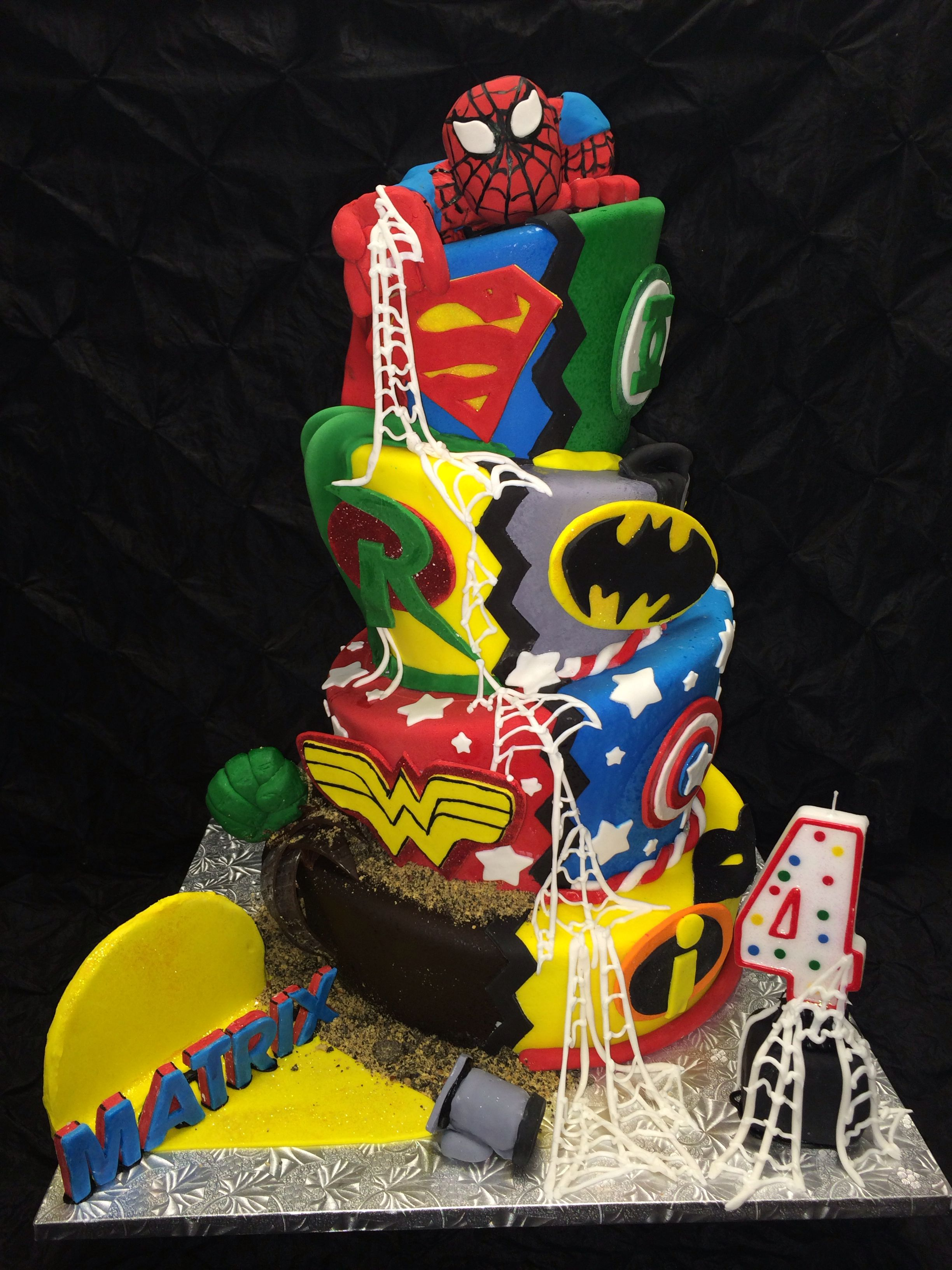 4 Tier Custom Superhero Cake For 4th Birthday Superman Batman The