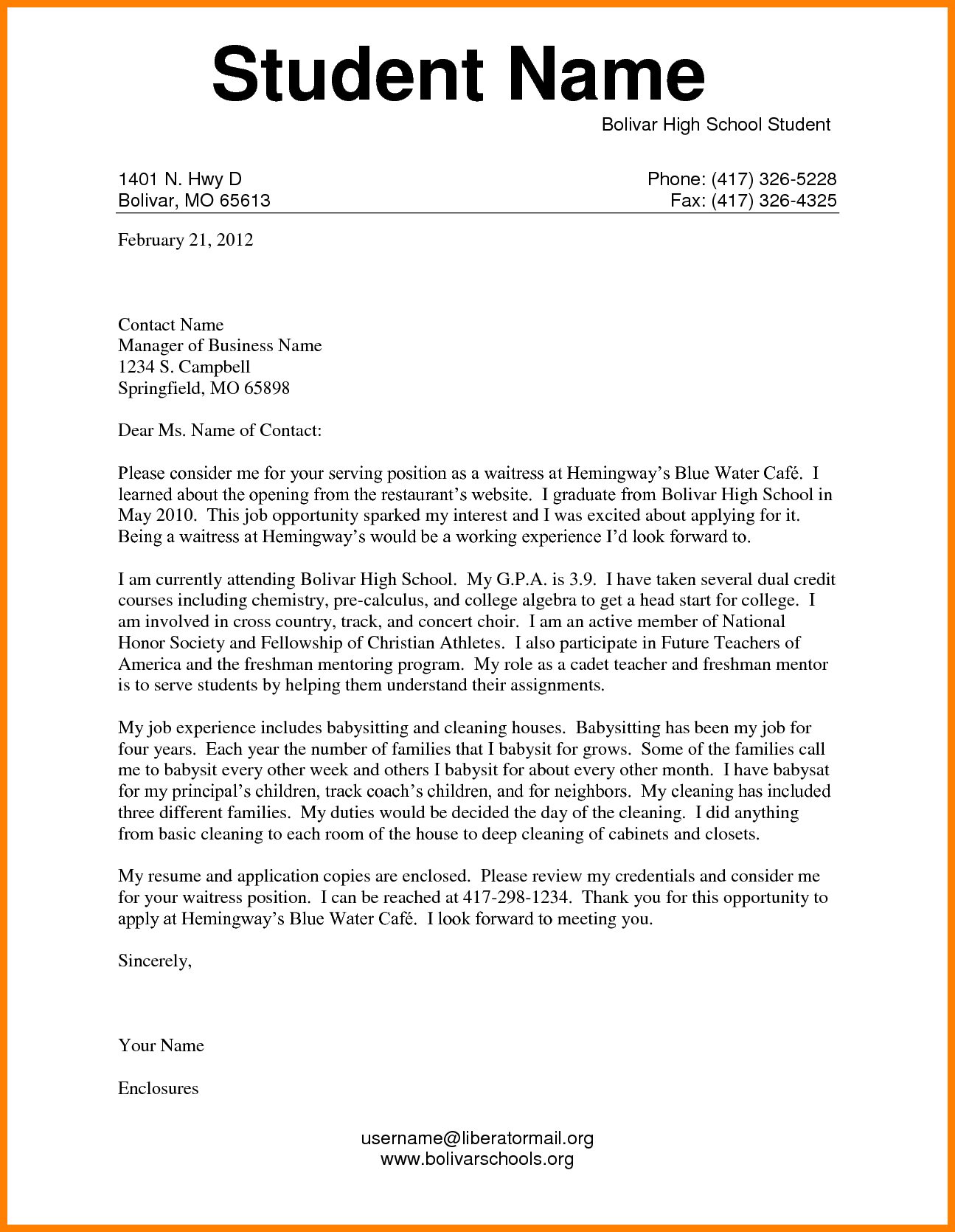 example of application letter for students cover letter for high