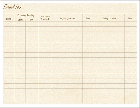 Travel Log / Mileage / Printable / Instant by TheDigitalMill