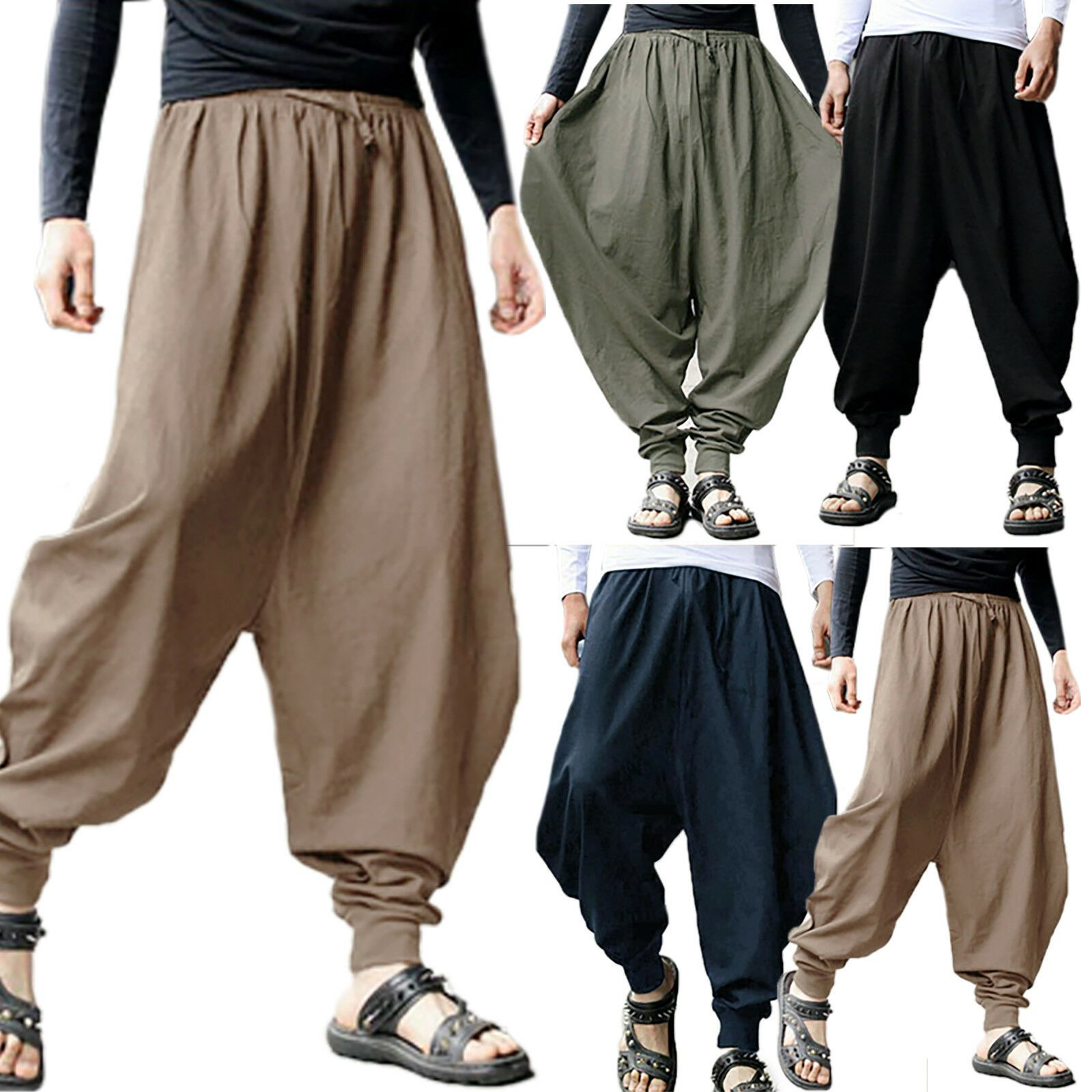 Mens Drop Crotch Harem Trousers Pants Flexible Loose Baggy Tapered Hippy Casual