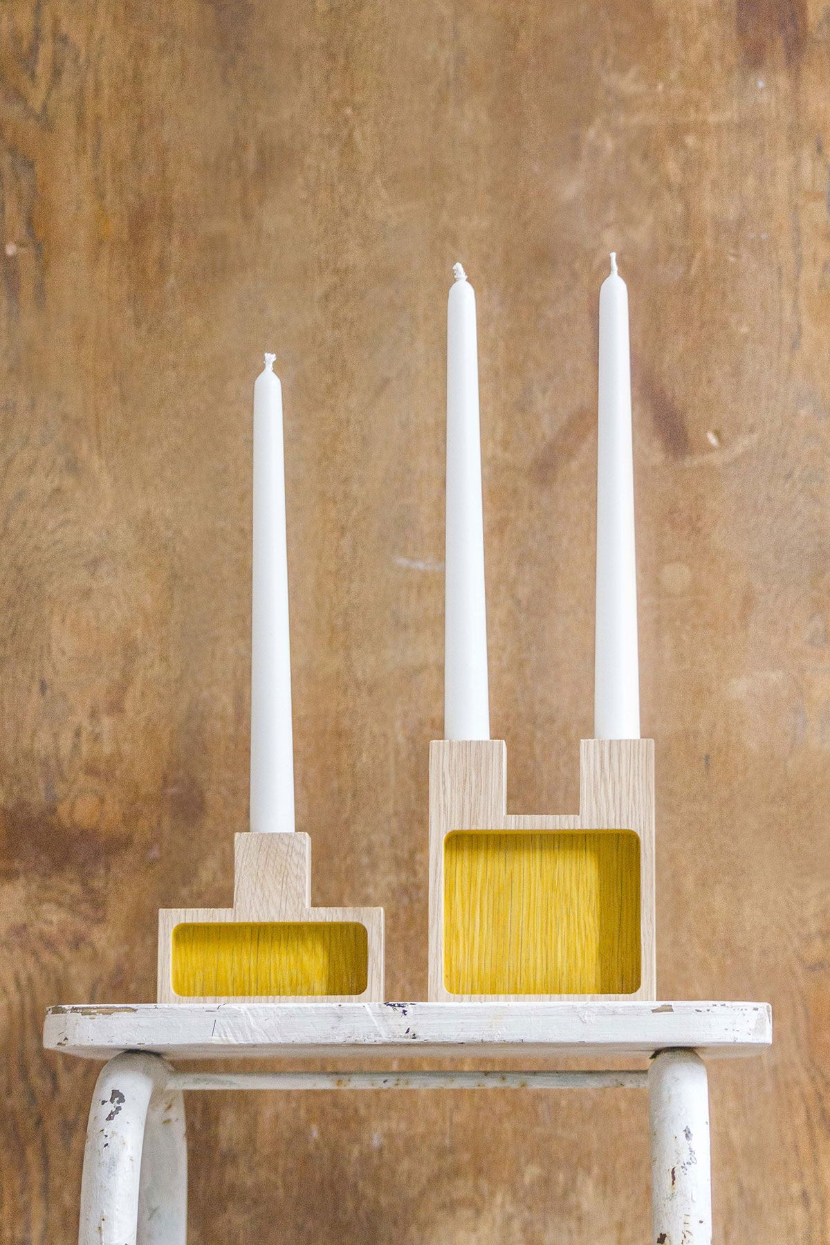 Join candleholder u small storage oak yellow natural turmerik dye