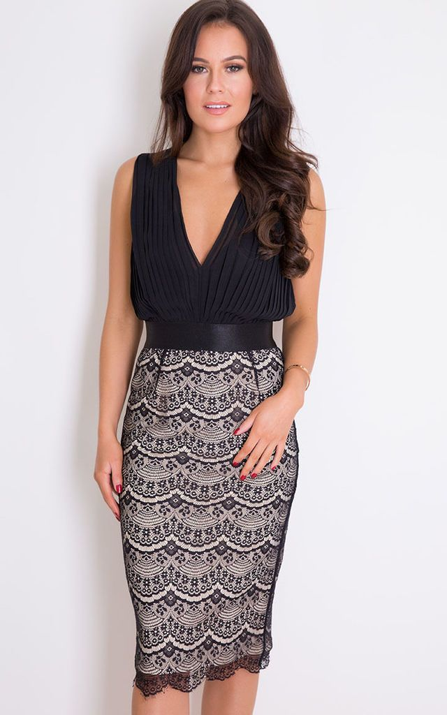e709d580 Naomi Pleated Plunge Lace Bodycon Midi Dress Black By Girl In Mind ...