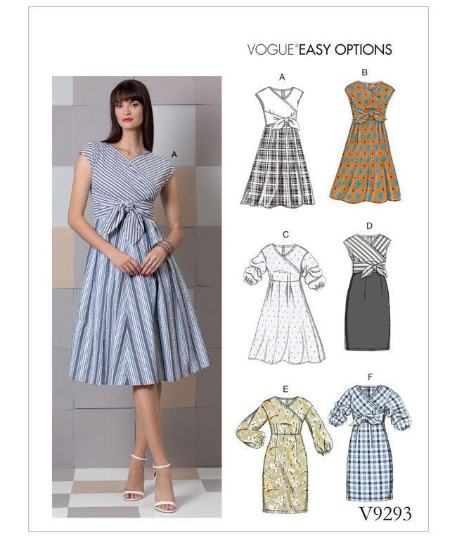 V9293 Vogue Schnittmuster Kleid Wickelkleid