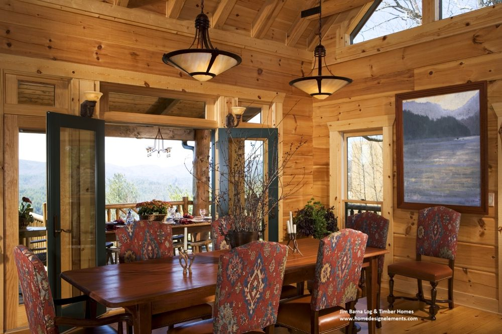 Dining Room In A Beautiful Log Home, Rustic Design