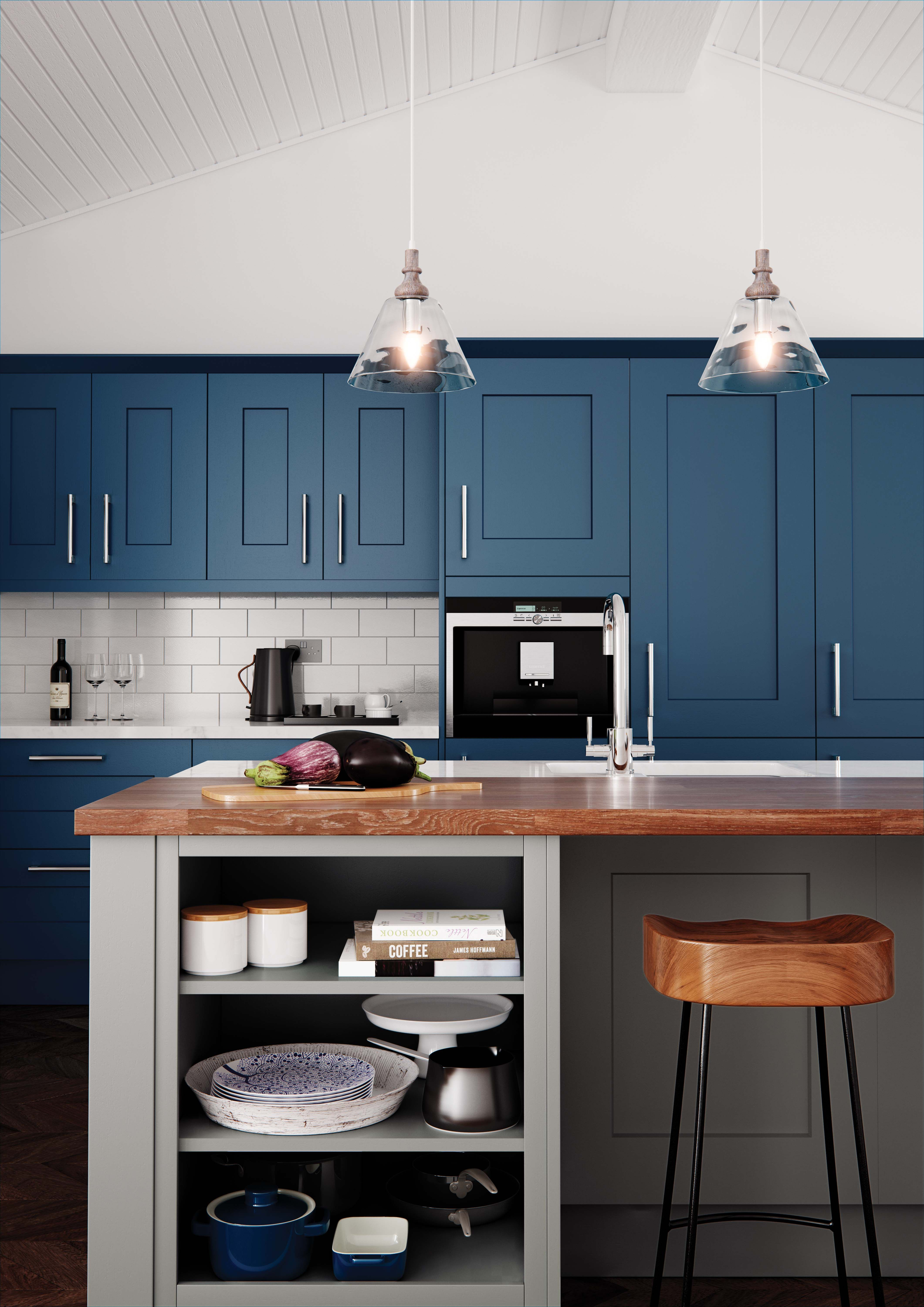 The use of open shelving in this kitchen island looks really modern ...
