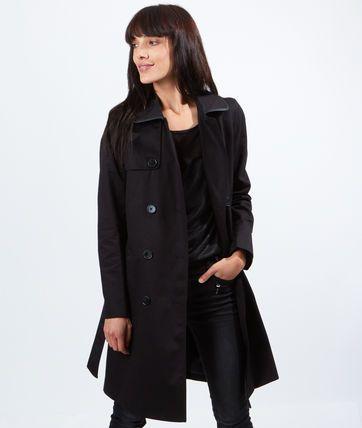 Trench en coton, détails effet cuir - Manteaux - La collection - Prêt-à-porter