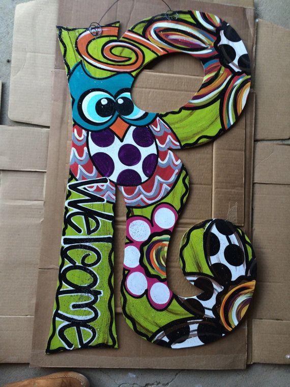 Painted initial door hanger by JustDotsCo on Etsy Painting - healthcare door hanger