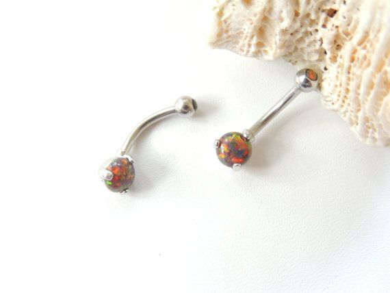 Multi Colored Fire Opal Belly Ring Opal by SeductiveBodyWorks