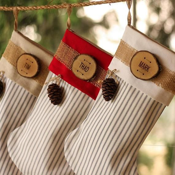 Personalized Christmas Stocking Wood Slice Name Tag Cone Rustic Woodland Plaid Flannel Burlap