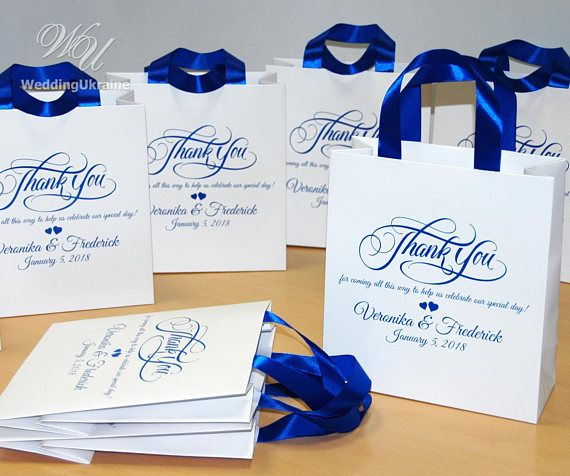 40 Wedding Favor Bags With Satin Ribbon And Names