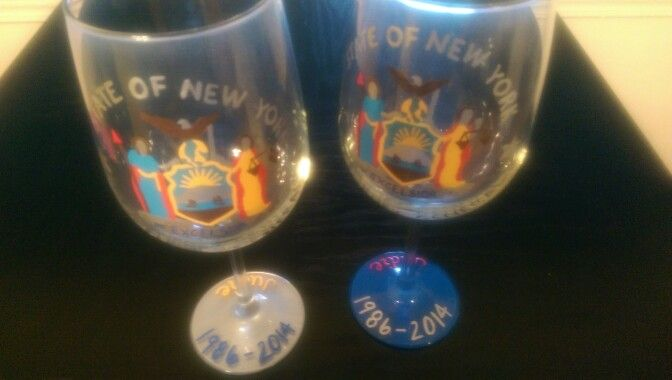 Personalized Attorney General wine glasses (retirement gift...name and years worked)