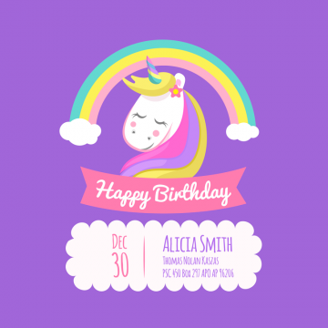 Birthday Card With Unicorn And Birthday Happy Background