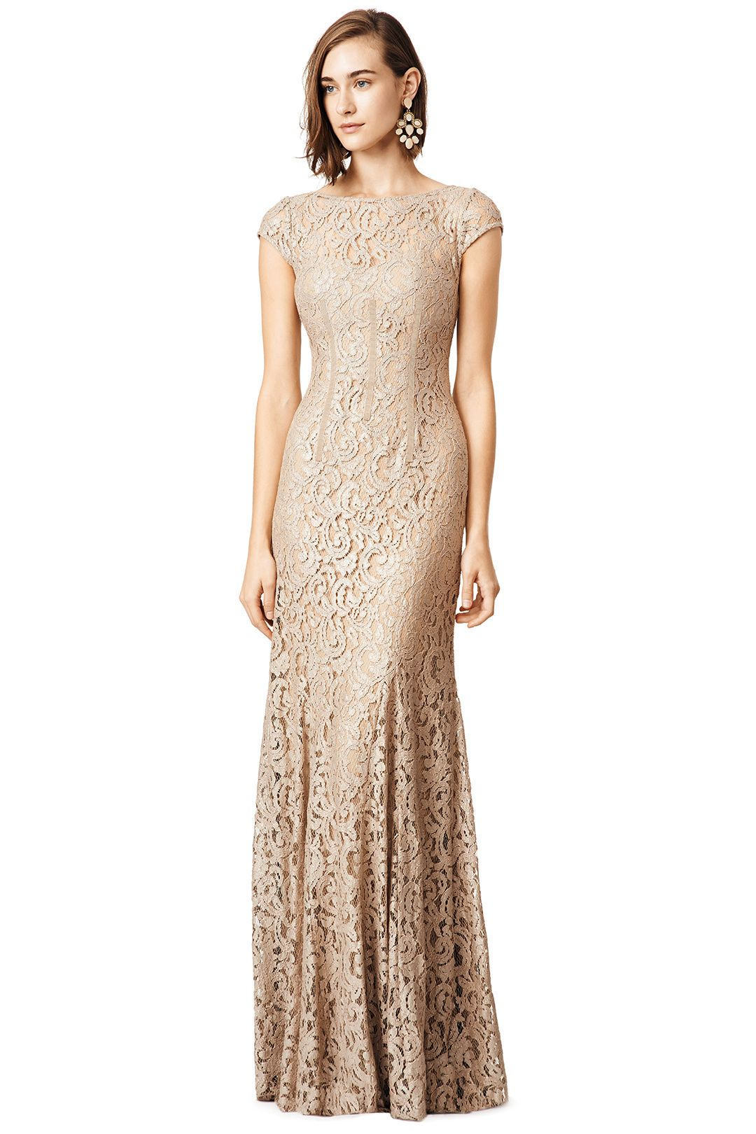 Floor Length Metallic Gown With Lace Overlay Glitter In Gold By Monique Lhuillier