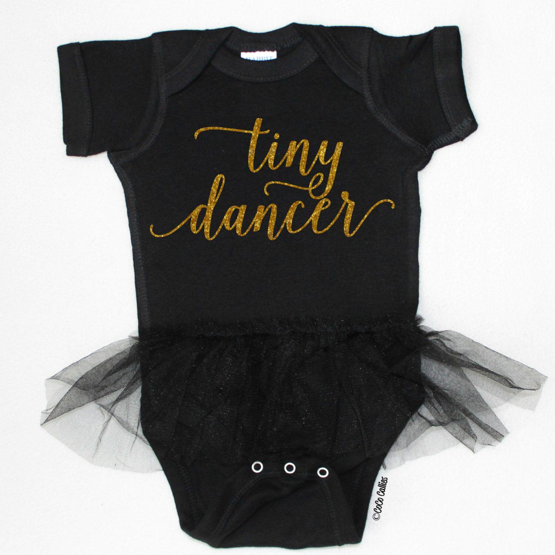 Tiny Dancer Tutu Bodysuit Black Gold Baby Girl Clothes Baby Girl