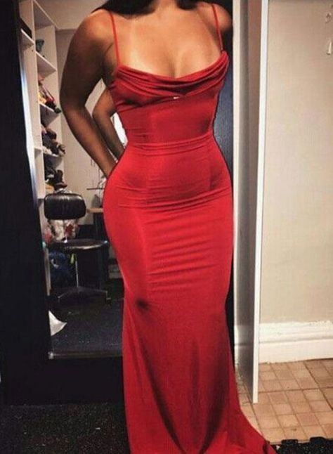 Sexy Mermaid Spaghetti Straps Red Satin Long Prom/Evening Dress