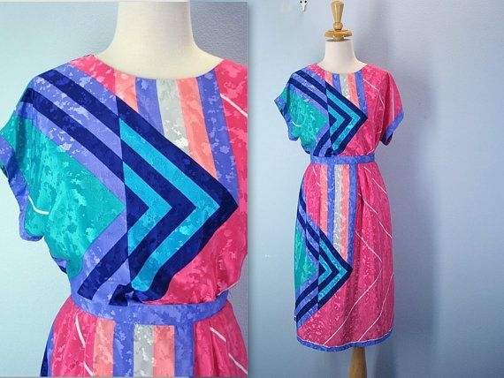 bright pink and blue Vintage 80s Nieman-Marcus blouse