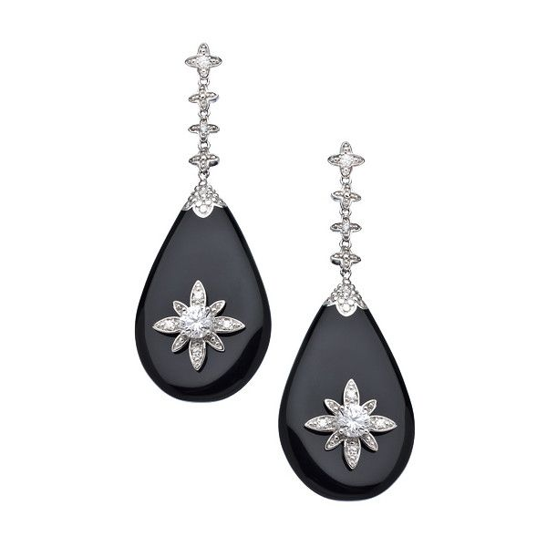 Black Silver and CZ Starburst Drop Earrings (350 CAD) ❤ liked on Polyvore featuring jewelry, earrings, fashion jewelryearrings, flower drop earrings, floral earrings, cz jewelry, flower jewelry and cubic zirconia drop earrings