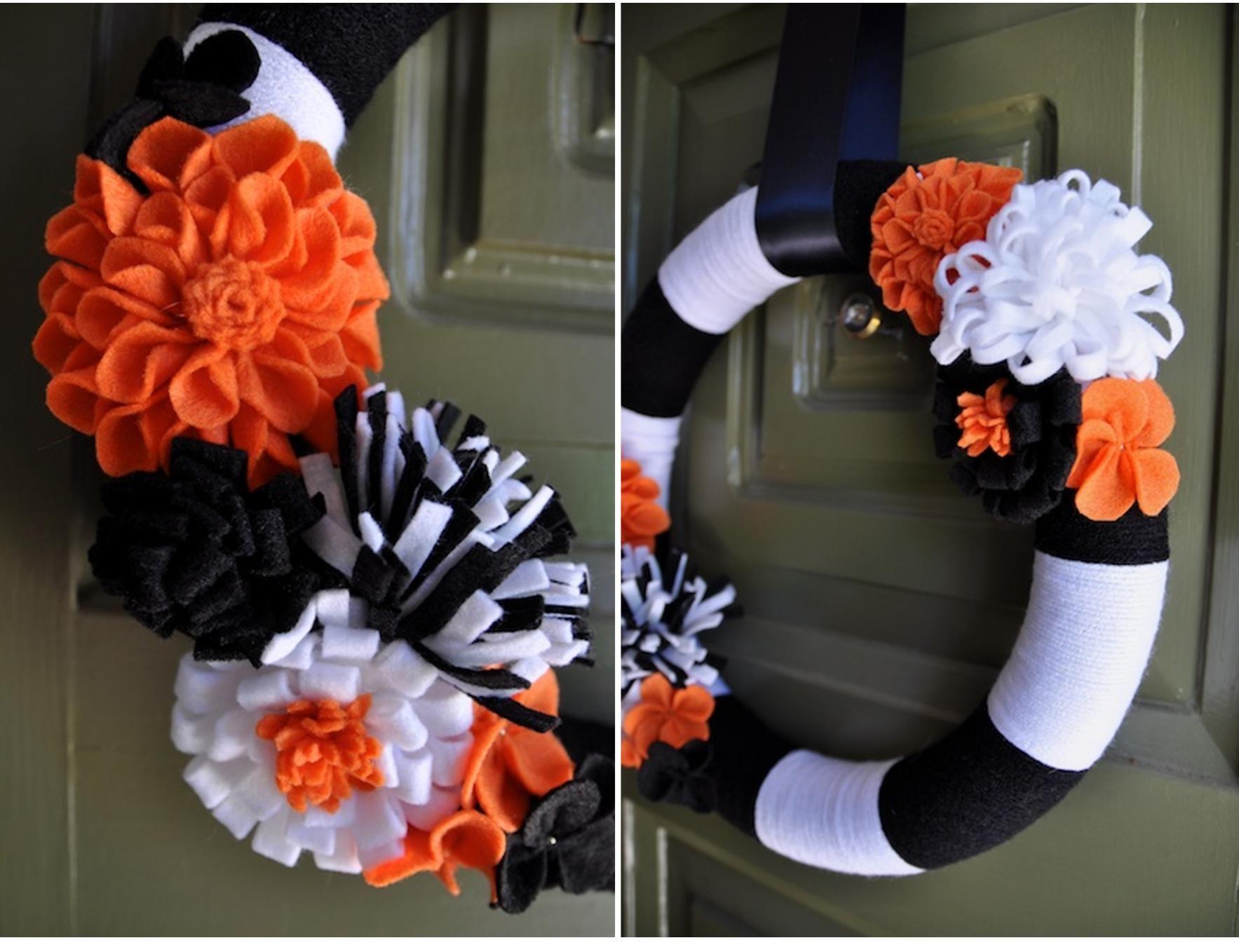 Diy Halloween Wreath Candy Corn Yarns And Flower